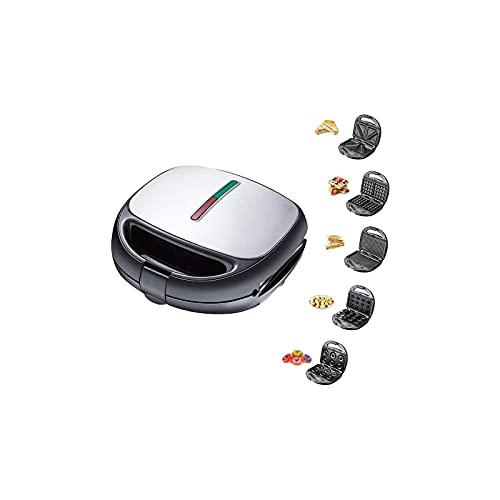 eewopjkj Elektrischer Waffeleisen 5 in 1 Multifunktions-Schnellmaschine für schnelles Frühstück abnehmbare Premium-Backform mit Antihaftbeschichtung für Waffeln Donuts Sandwich Steak Panini-Ges