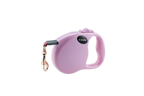 DOGNESS Retractable Dog Leash,One Button Locking System, Suitable for Kids, 10 – 16 ft Waterproof Ribbon Tape, Walking Training Jogging for Small Medium Large Dogs (10 ft/up to 25 lbs, Pink)