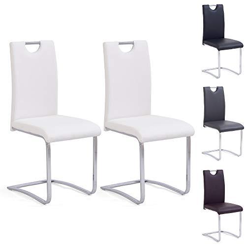 Mingone Morden PU Leder Esszimmerstühle Set Küche 2 Stühle Mithoher Rückenlehne Edelstahl Metallbeine,Weiß