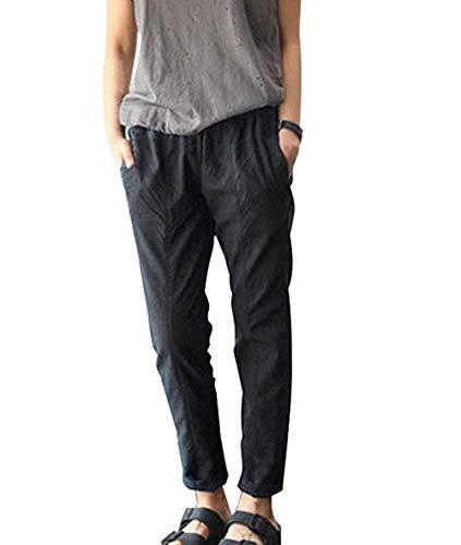 Letnie spodnie damskie 7 8 elastyczne długość festiwalu lekkie modne sznurki lniane spodnie na co dzień spodnie damskie spodnie moda 2020 odzież damska, Czarny, L