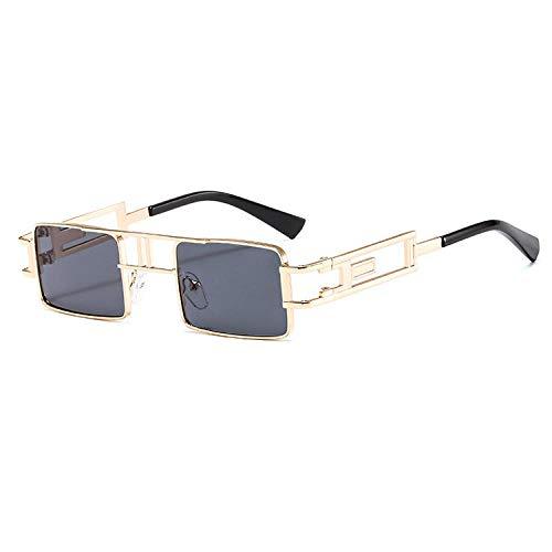 Gosunfly Gafas de sol de metal Steampunk gafas de sol de caja europeas y americanas femeninas-Golden_black