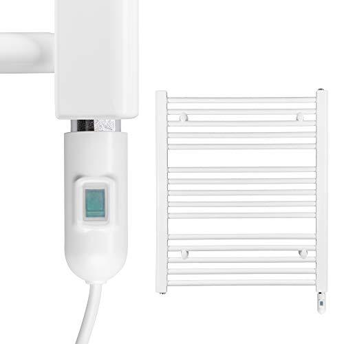 HEATSUPPLY® Badheizkörper elektrisch 702 x 600mm Handtuchheizkörper 600 Watt Handtuchtrockner weiß inkl. Heizstab mit Ein- und Ausschalter