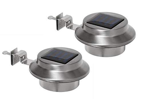2-er Set Edelstahl Solar Dachrinnen-Leuchte inkl. Befestigungsmaterial | warm-weiss | kabellos | Außenbeleuchtung | Dachrinnenbeleuchtung