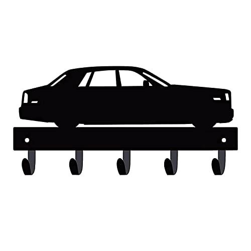 DASNTERED Soporte para llaves de hierro, ganchos para decoración de pared, puerta delantera de coche, forma de coche, con 5 ganchos, colgador de correa, colgador de abrigos (negro)