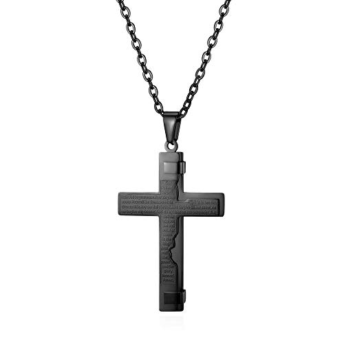 Halskette Herren Classic Cross Halskette Edelstahl Long Suspension Anhänger Kette Male Fashion Choker Collier Schwarz