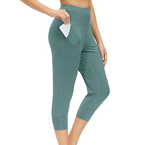 PPPPA Leggings de cintura alta para mujer, leggings de control de barriga opacos elsticos suaves y mantecosos, talla grande para entrenamiento, gimnasio leggings para correr con bolsillos para mujer