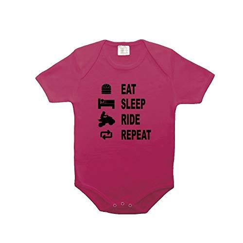 Mygoodprice Body bébé 100% Coton Eat Sleep Quad Fushia 18-23 Mois