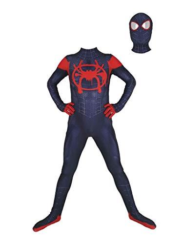 Costume de body Spiderman pour enfants adulte, miles d'araignées Morales dans le costume de cosplay Spider-Verset Cosplay 3D Print Spiderman Combinaison (Soie de lait) Les fans adorent,adult male XXXL