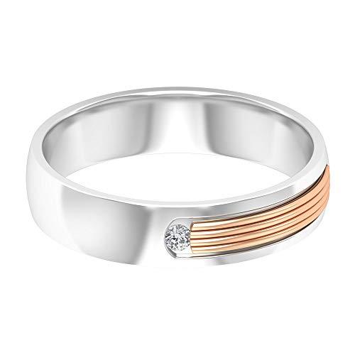 Anillo solitario de moissanita de 1,80 mm, anillo de boda de dos tonos, apilable, anillo grabado en oro, oro de 10 quilates. blanco