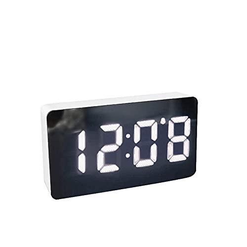 Kfhfhsdgsanz Despertador, Espejo Reloj Digital Reloj Despertador Snooze Table Table Reloj Despertador Sur Mute Desktop Relojes Decoración del hogar (Color : White)