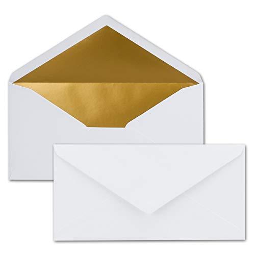 25 Brief-Umschläge DIN Lang - Weiß mit Gold-Metallic Innen-Futter - 110 x 220 mm - Nassklebung - Festliche Kuverts für Weihnachten