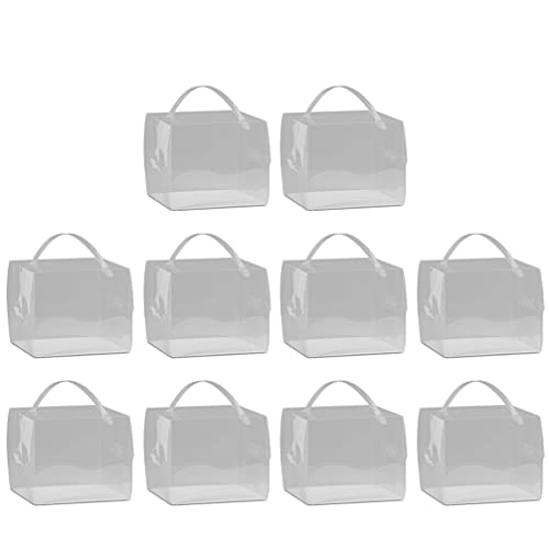 NUOBESTY 10pcs Clear Cake Boxes Bakery Containers Transparent Boxes Candy Box Cake Container Cupcake Case for Pastries Cookies Pie Cupcakes