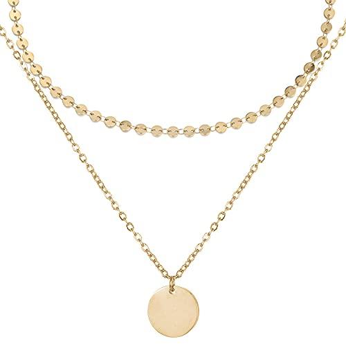 BONNYBIRD® Boho Kette mit Plättchen in Gold Hochwertige Edelstahl Bohemian Halskette Damen BonnyBoho Set