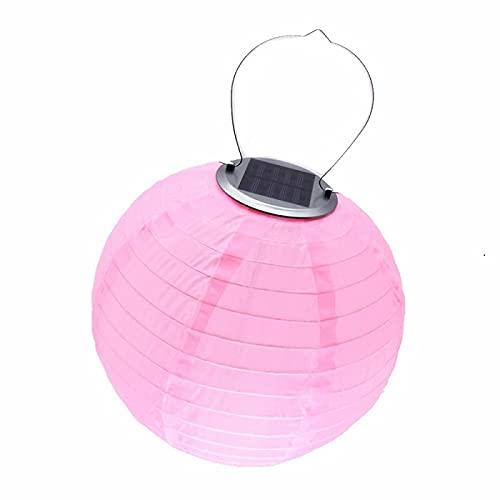 XKMY Farolillos de papel LED para decoración al aire libre, bolas de luz solar para decoración de fiestas, linterna de nailon, impermeable, color rosa