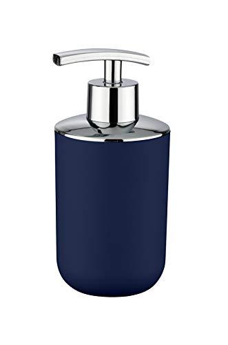 WENKO Seifenspender Brasil Dunkelblau - Flüssigseifen-Spender, Spülmittel-Spender Fassungsvermögen: 0.32 l, Kunststoff (TPE), 7.3 x 16.5 x 9 cm, Dunkelblau