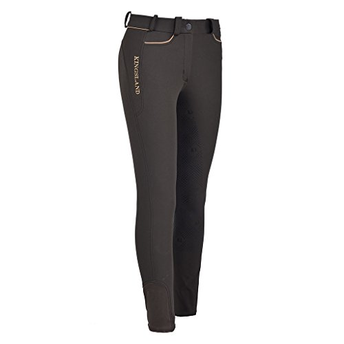 Kingsland Damen Reithose Kessi Green Black oder schwarz Silikon Vollbesatz 4-Wege-Stretch, Farbe:Black Onyx, Damengröße:32