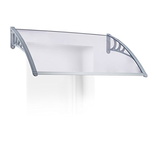 Relaxdays Vordach Haustür, Überdachung transparent, massive Polycarbonat-Platte 3 mm dick, HxBxT: 23,5x105x75 cm, grau