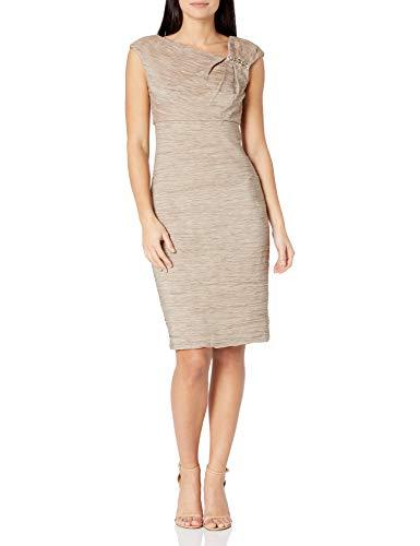 Eliza J Women's Cap Sleeve Asymmetrical Neck Short Dress, GOLD, 12 Petite