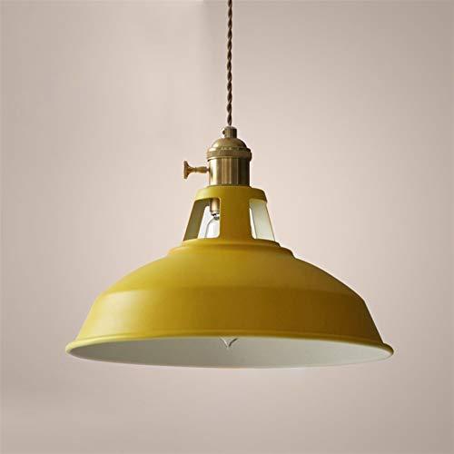 LIUYU Colgante de Luces Led Lámpara Colgante Pendiente Moderna de la luz del Granero de Bronce del Metal Shade Cocina Comedor Luces E27 (Body Color : Yellow no Bulb, Size : Gratis)