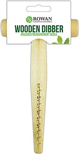 Natural Wood Garden Dibber Seed Bulb Flower Depth Planting Gauge T Handle Measuring Tool