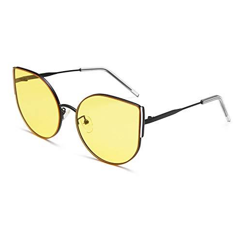Gafas de Sol Sunglasses Gafas De Sol De Metal De Moda Mujer, Hombre, Ojo De Gato, Montura Grande, Gafas De Sol Uv400 C1