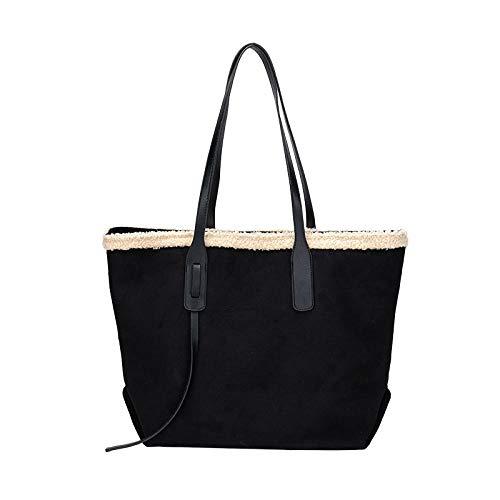 BeniFrauen-Tasche Neues Plüsch-Lamm-Haar-Stütze-Big Bag-schwarz