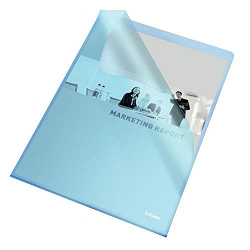 Esselte Sichthüllen-Set Standard Plus, 100 Stück, A4 Format, Blau mit matter Oberfläche, 0,115 mm PP-Folie, 54837
