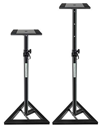 2x Pronomic SLS-10 Stativ für Studio Monitor Ständer (verstellbar 80 cm bis 130 cm, Dreiecksbasis, Gummifüße, Dornenfüße/Spikes, Stahl, Trägerplatte mit Gummistreifen) schwarz pulverbeschichtet