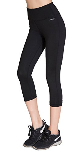 Women's Activewear Yoga Pants High Rise Slim Fit Tights Cropped Capris,Small / 4/6,Black