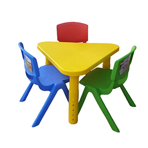 Kids Chairs and Table Set Toddlers Chairs Children Study Table Desk for Play Indoor Outdoor Furniture (Table - Yellow)
