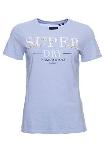 Superdry Damen Serif T-Shirt mit Blumenstickerei Blaureiher Genoppt 38