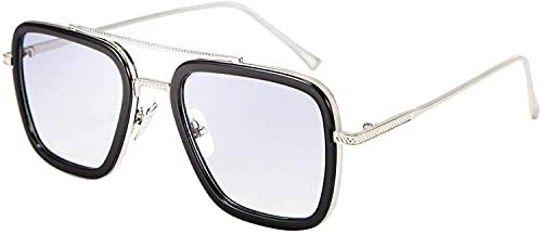 Tony Stark Sunglasses Vintage Square Metal Frame Eyeglasses for Men Women -...