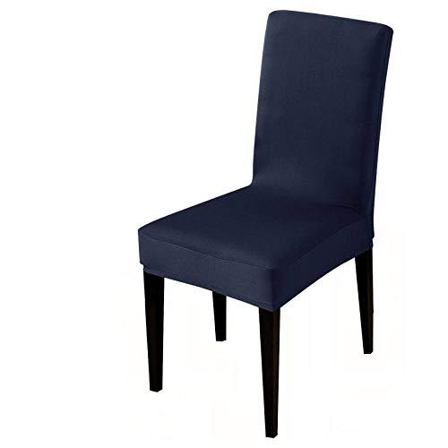 UIRK Esszimmer Stretch Stuhlhussen,Moderner Esszimmerstuhl Protector Marineblau Einfarbig Klassisch Abnehmbare Waschbare Elastische Stuhlsitzbezüge Für Hotelhochzeitsbankett, 4 Stück/Packung