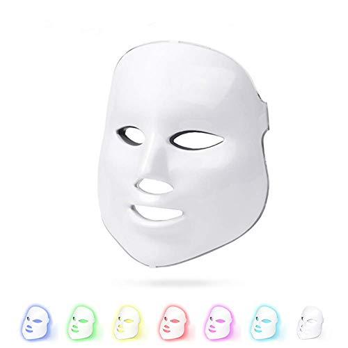 Lichttherapie-Maske,LED Gesichtsmaske,7 Farben Led Photon Skin Care für Anti-Aging straffende Haut Verbesserung der Fein