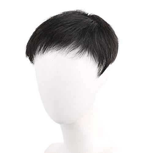 Kongqiabona-UK Perruque de Cheveux Noirs naturels de Remplacement de calvitie de Cheveux Courts de Morceau de Cheveux Noirs pour l'homme