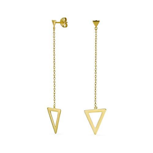 Minimalista Geométrico Lineal Cadena Larga Pirámide Triángulo Flecha Pendientes colgantes para mujeres 14K oro chapado 925 plata de ley