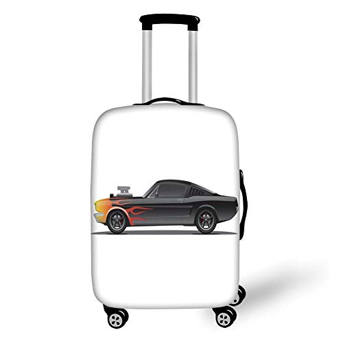 Travel Luggage Cover Suitcase Protector,Cars,Custom Design Muscle Car with Supercharger and Flames Roadster Retro Styled Decorative,Black Orange Red,for Travel,L