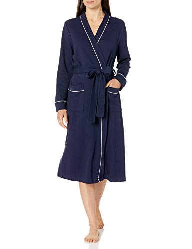 Amazon Essentials Women's Lightweight Waffle Full-Length Robe, Navy, Medium