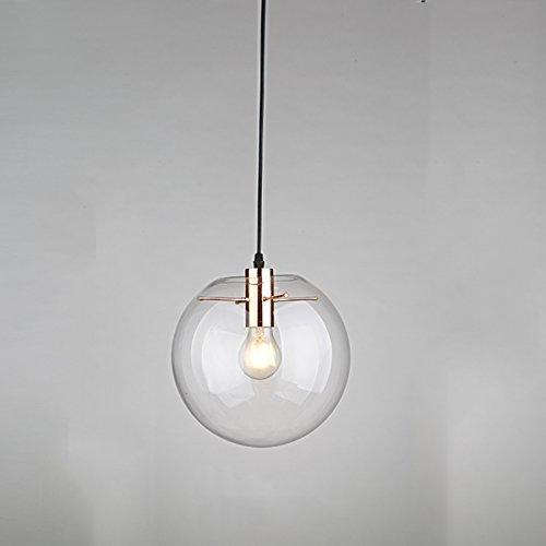 E27 Globe Shade Suspension industrielle moderne en verre transparent - 1 lumière