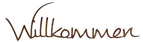 Rostikal | Edelrost Schriftzug Willkommen | Deko für Türkranz Hauseingang zum hängen| 35 x 9 cm | 2 STK.