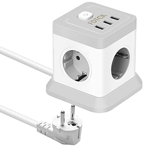 FDTEK Cube Regleta Enchufes,Enchufe USB con 3 Puertos USB y 4 Tomas CA(2500W,10A, Enchufe Multiple con Interruptor y Cable de 1,8 m,Adecuado para Oficina en casa,Gris