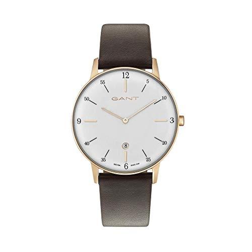 GANT Herren Analog Quarz Uhr mit Leder Armband 7630043918715