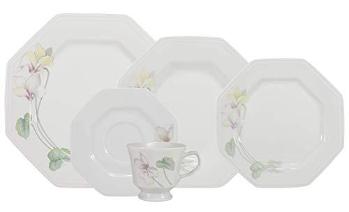 Serviço de Jantar e Chá 30 peças em Porcelana. Modelo Octogonal Prisma. Decoração Encanto. Fabricado pela Schmidt.