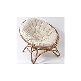 EDELL – Fauteuil loveuse rotin et Coussin Ivoire Raya