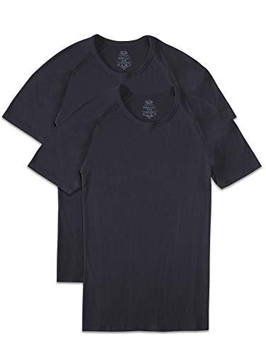 Fruit of the Loom Men's Everlight Modal Raglan Crew T-Shirt, 2 Pack-Black, Large
