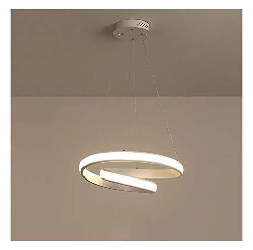 Restaurant witte hanglamp, eenvoudige creatieve persoonlijkheid moderne LED kroonluchter ronde eettafel kroonluchter 80 cm 50 cm 65 W productie (kleur: warm licht)
