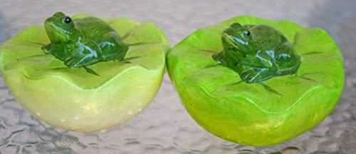 Maison en France Schwimmkugel Frosch- 2 Stück- hellgrün + mittelgrün-hübsche stabile Schwimmkugel mit Frosch auf Blatt, Haus und Garten
