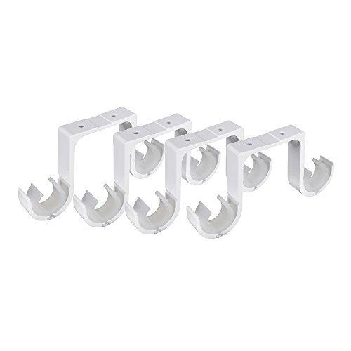4 Piezas Soportes para Barra de Cortina Doble de Alta Resistencia Soporte Barra Techo Soporte de Poste de Cortina de Metal con Tornillos para Casa Cuarto Oficina Ventana