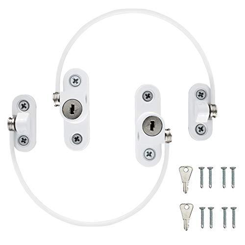 SUPGOMAX - 2 serrature per finestra per bambini, cavo di sicurezza per bambini, in UPVC, per limitatori di finestre, con viti, chiavi, colore: bianco