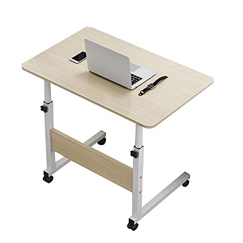 Mesa de Ordenador Portátil con Ruedas,con 4 Ruedas de Bloqueo 69-90cm Ajustable Sofá Junto A La Cama Estudio Lateral Lectura Comiendo Mesa (Color : Brushed Oak, Size : 60x40CM)